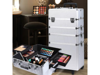 Makeup Case Professional Makeup Organiser 7 in 1 Trolley Silver