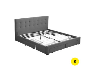 Bed Frame King Fabric With Drawers Storage Wooden Mattress Grey