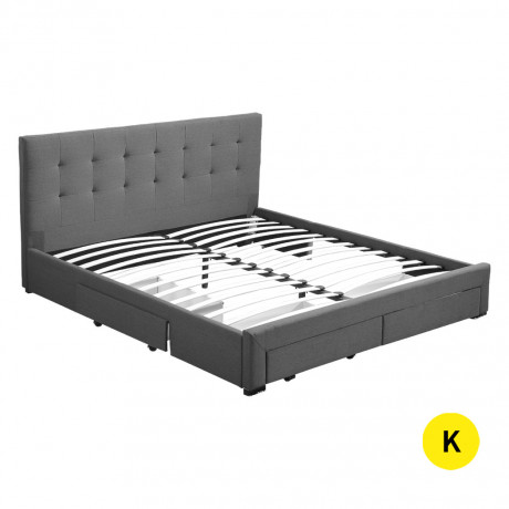 bed-frame-king-fabric-with-drawers-storage-wooden-mattress-grey-big-0