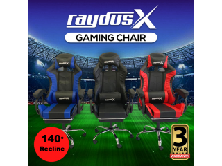 Gaming Office Chairs Computer Seating Racing With Back Massage Pointer And Recliner Footrest- Black