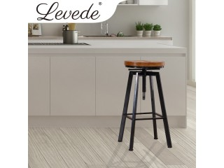 Levede Industrial Bar Stools Kitchen Stool Wooden Barstools Swivel Chair Vintage